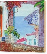 Sea View Wood Print by Kostas Dendrinos