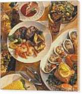 Seafood And Steak Buffet Dinners Wood Print