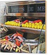 Seafood Market In Nice Wood Print