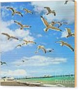 Seagulls At Worthing Sussex Wood Print