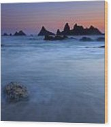 Seal Rock Dusk Wood Print by Mike  Dawson