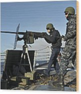 Seaman Fires A .50 Caliber Machine Gun Wood Print
