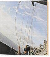 Seaman Raises The Foxtrot Flag Wood Print