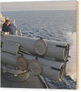 Seamen Fire An Air Slug From A Mk-32 Wood Print