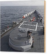 Seamen On The Forecastle Wood Print