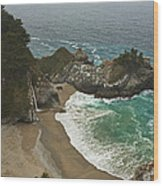 Seascape And Waterfall At Julia Pfeiffer Burns State Park Wood Print