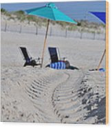 seashore 82 Beach Chairs Beach Umbrella and Tire Treads in Sand Wood Print