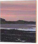 Seashore At Sunset, Northumberland Wood Print