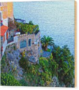 Seaside Villa Amalfi Wood Print