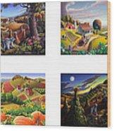 seasonal farm country folk art-set of 4 farms prints amricana American Americana print series Wood Print