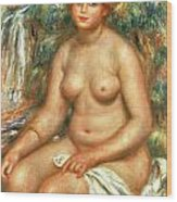 Seated Bather Wood Print