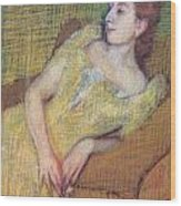 Seated Woman In A Yellow Dress Wood Print by Edgar Degas