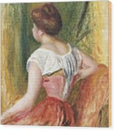 Seated Young Woman Wood Print
