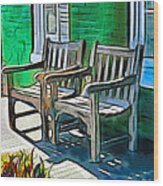 Seating For Two Wood Print