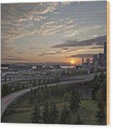 Seattle Arrival Sunset Wood Print