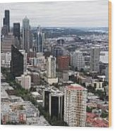 Seattle From The Needle Wood Print
