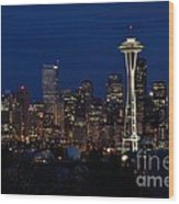Seattle In The Evening Wood Print by Alan Clifford