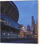 Seattle Sky At Dusk Wood Print