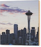 Seattle Skyline At Dusk Wood Print