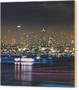 Seattle Skyline Firework Panorama Wood Print by Dmitry Grekov