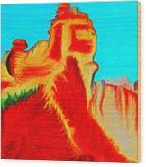 Sedona Hills - Fire At Sunset - Arizona Wood Print