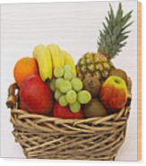 Selection Of Tempting Fresh Fruits In A Basket Wood Print by Rosemary Calvert
