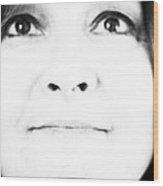 Self Portrait In Black And White Wood Print