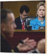 Senator Hillary Clinton A Member Wood Print by Everett