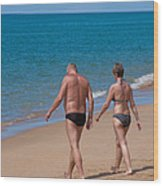 Senior Elderly  Lover Couple Wood Print