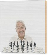 Senior Man Playing Chess Wood Print by
