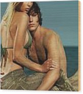 Sensual Portrait Of A Young Couple On The Beach Wood Print