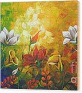 Sentient Flowers Wood Print by Uma Devi