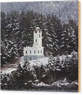 Sentinel Island Lighthouse In The Snow Wood Print