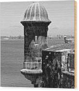 Sentry Tower Castillo San Felipe Del Morro Fortress San Juan Puerto Rico Black And White Wood Print by Shawn O'Brien