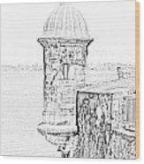 Sentry Tower Castillo San Felipe Del Morro Fortress San Juan Puerto Rico Line Art Black And White Wood Print by Shawn O'Brien