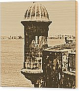 Sentry Tower Castillo San Felipe Del Morro Fortress San Juan Puerto Rico Rustic Wood Print by Shawn O'Brien