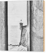Sentry Tower View Castillo San Felipe Del Morro San Juan Puerto Rico Black And White Line Art Wood Print