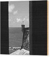 Sentry Tower View Castillo San Felipe Del Morro San Juan Puerto Rico Black And White Wood Print