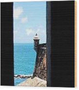 Sentry Tower View Castillo San Felipe Del Morro San Juan Puerto Rico Ink Outlines Wood Print