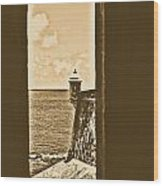 Sentry Tower View Castillo San Felipe Del Morro San Juan Puerto Rico Rustic Wood Print