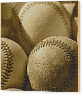 Sepia Baseballs Wood Print