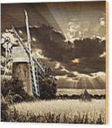 Sepia Sky Windmill Wood Print