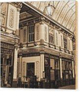 Sepia Toned Image Of Leadenhall Market London Wood Print