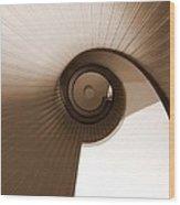 Sepia Vortex Wood Print