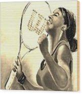 Serena In Sepia Wood Print