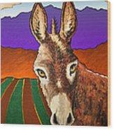 Serious Donkey Wood Print
