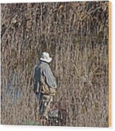 Serious Fisherman Wood Print