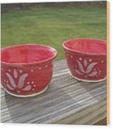 Set Of Small Red Bowls Wood Print by Monika Hood