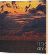 Setting Sun At South Beach Wood Print