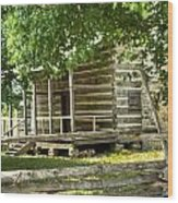 Settlers Cabin And Crosstie Fence 4 Wood Print